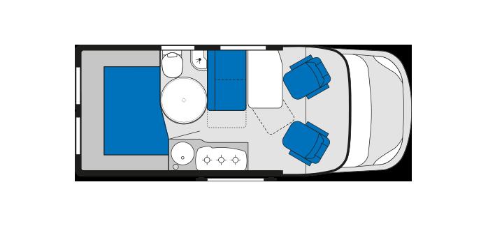 2013 Knaus Road 540 Van Conversion Motorhome Day Layout