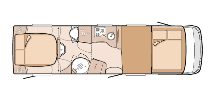 2016 Knaus Sun I 900 LX Motorhome Night Layout