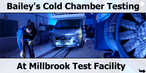 Bailey Motorhomes Cold Chamber Testing at Millbrook Proving Ground