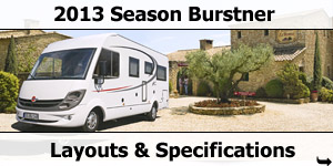 2013 Season Busrtner Motorhomes Layouts and Specifications