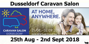 2018 Dusseldorf Caravan Salon 25th August to 2nd September 2018