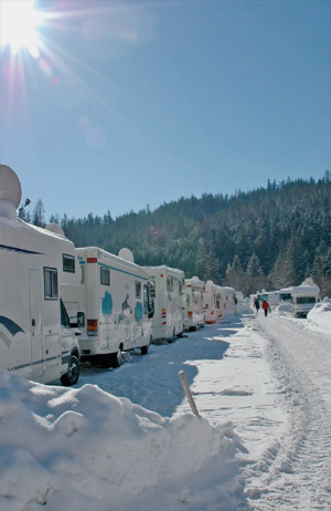 Concorde Motorhomes inThe Snow on A Winter Rally