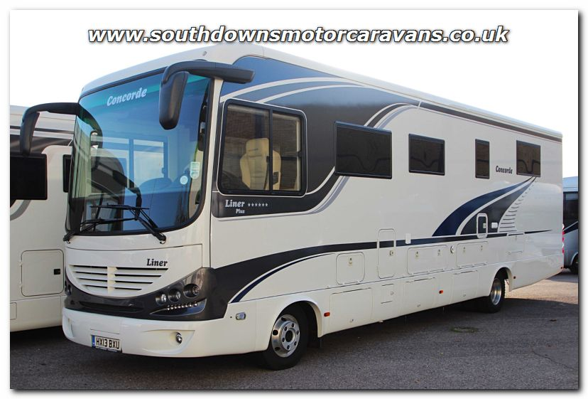 Southdowns used lhd concorde liner plus 1060 gmax man for Class a rv with car garage